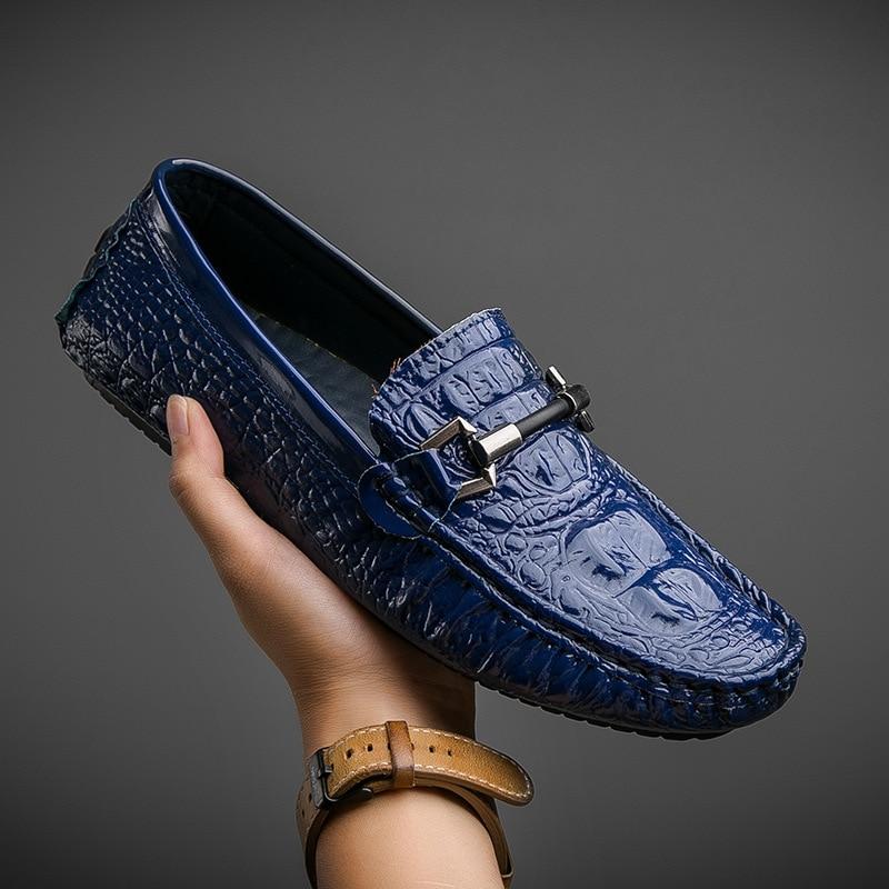 Chaussures bleu Glissent Mode Sur Mocassins Doux De Noir Luxe Marque 2018 Cuir 2a blanc Appartements Nouveau Respirant Hommes En Split Conduite 4AxWEwqH