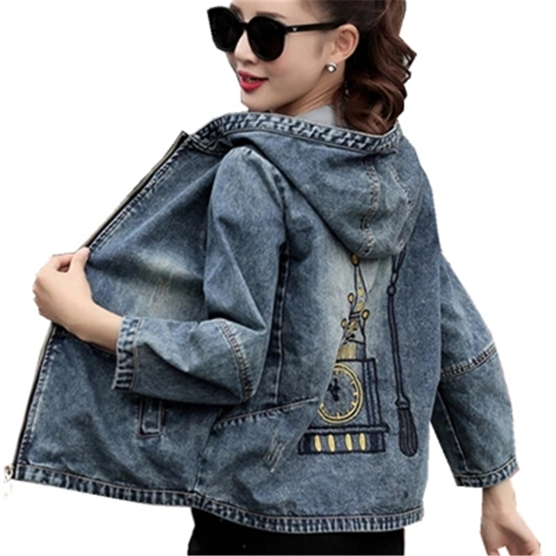 2018 Fashion Embroidery Denim Jacket Coat Women Autumn Casual Plus Size Hooded Jeans Outerwear Girls Spring Basic Jackets A343