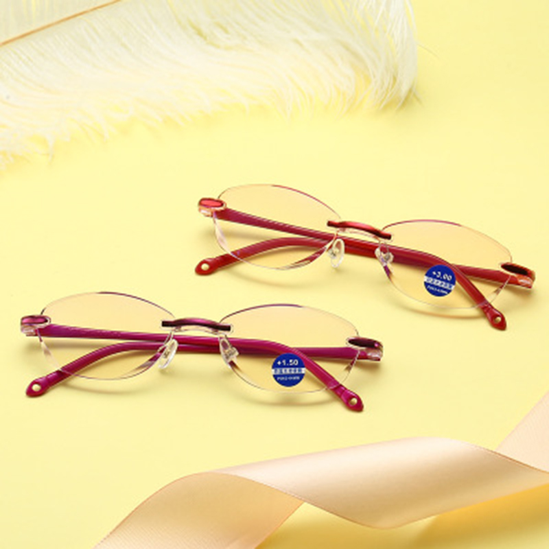 New frameless reading glasses Diamond trimming fashion Anti-blue reading glasses