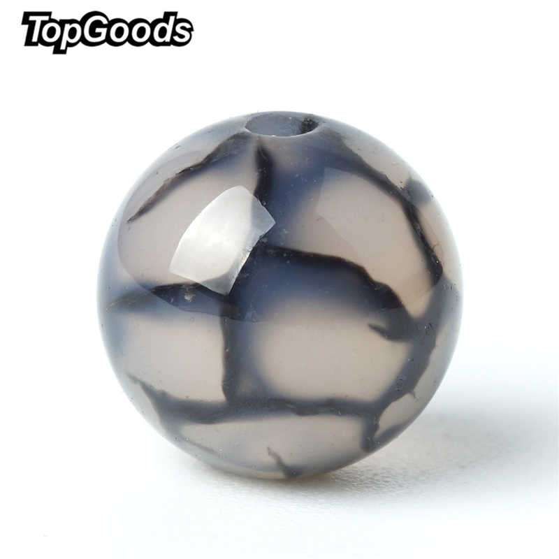 TopGoods Natural Gemstone Beads Grey Agate Loose Charms Black Turquoise Vein Bead 8mm Onxy Ball Stone For Women Jewelry Making