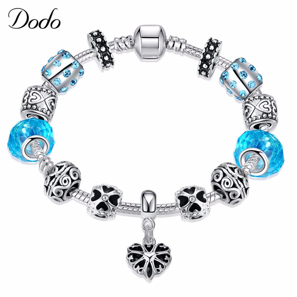 HOT 2017 Fashion Heart Charm Bracelet Blue Crystal Glass Beads Bracelets & Bangles for Women Jewelry Gift Travel Souvenirs P33