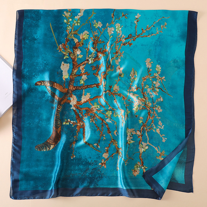 2019 Spring Autumn Women 100% Natural Silk Scarf Abstract Tree Printing Silk Scarves And Shawls Beach Cover-ups Wraps 180*90Cm