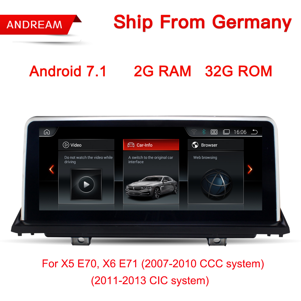 10.25 Android 7.1 Vehicle Multimedia Player For BMW E70 E71 X5 X6 Bluetooth Gps Navigation Wifi Free Germany Ship EW969B