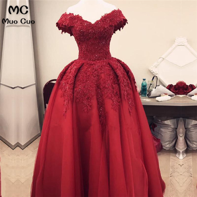 Elegant 2018 Burgundy   Evening     Dresses   Long with Beaded Appliques Deep V-Neck Short Sleeve Formal   Evening   Party   Dress   for Women