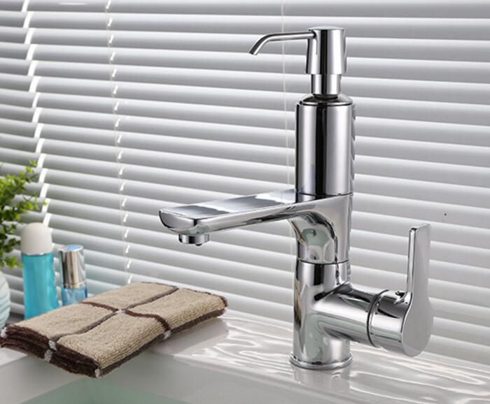 Free shipping kitchen or basin tap kitchen faucet with soap dispenser New modern Brass Chromed waterfall faucet water tap KF442 phasat 5405 chromed brass waterfall kitchen sink faucet water tap silver