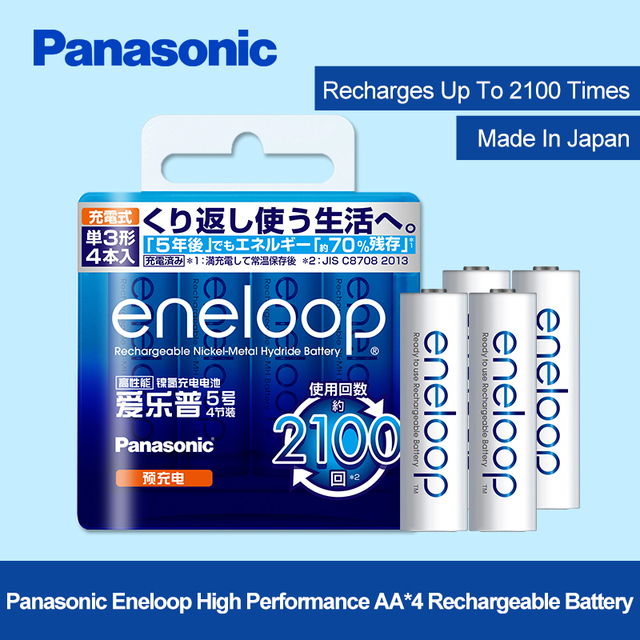 Panasonic 4pcs/lot 1.2V 2000mAh AA Pre-Charged Rechargeable Batteries Ni-MH Rechargeable aa Battery For Toys Camera Microphone