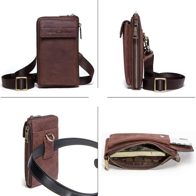 Retro Leather Phone bag case For iphone se 2020 cover Pocket Cases for iphone 8 11 pro Waist Bag Belt wallet zipper shoulder bag 2