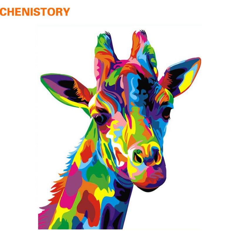 CHENISTORY pintura de Frameless DIY por números colorido jirafa animales Kit pintura al óleo pintada a mano regalo único para la decoración casera