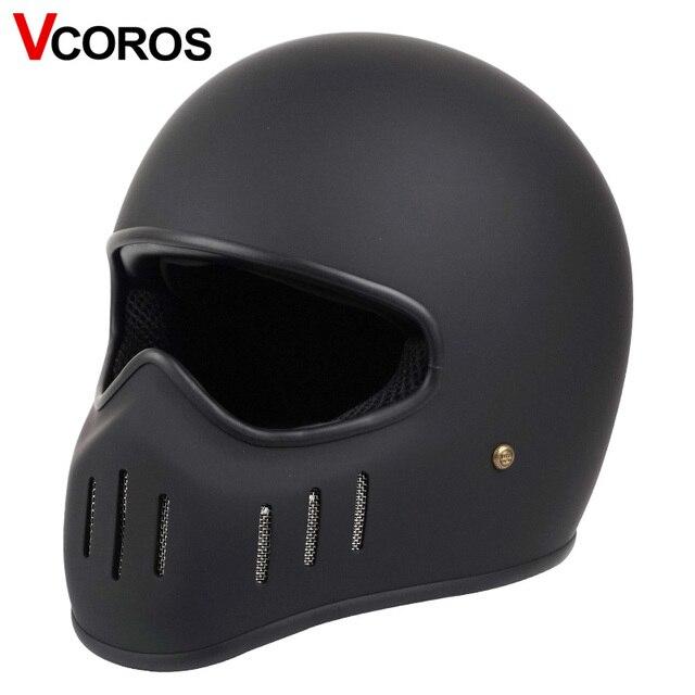 VCOROS Japanese TT CO full face motorcycle helmet fibe glass motorbike helmet Ghost Rider vintage racing locomotive moto helmet