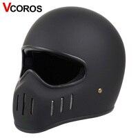 VCOROS Japonês tt & co completa rosto capacete da motocicleta moto capacete de vidro fibe Ghost Rider corrida vintage locomotiva moto capacete