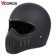 VCOROS casco de moto de cara completa, estilo japonés TT CO, fibe glass, vintage, locomotora de carreras