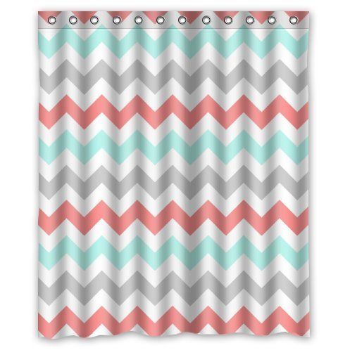 CoralLight GreenGray And White Chevron Zig Zag Pattern Waterproof Bathroom Fabric Shower CurtainBathroom Decor