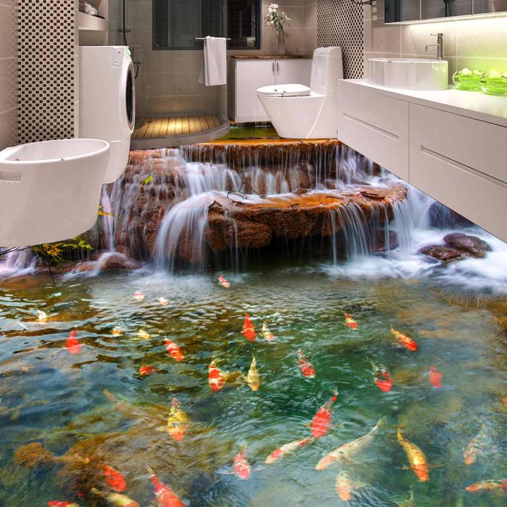Custom 3D Floor Wallpaper Waterfall Carp Bathroom Floor Mural Paintings 3D PVC Self-adhesive Wall Sticker Wallpaper Waterproof