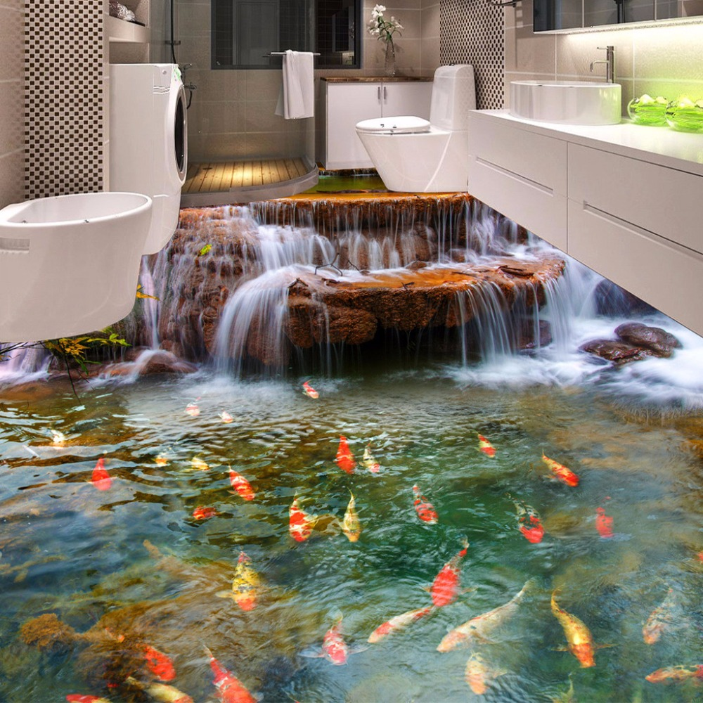 Custom 3D Floor Wallpaper Waterfall Carp Bathroom Floor Mural Paintings 3D PVC Self-adhesive Wall Sticker Wallpaper Waterproof 3d rock sea floor sticker