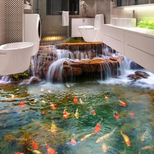 Custom 3D Floor Wallpaper HD Waterfall Carp Bathroom Floor Mural Painting 3D PVC Self-adhesive Wall Stickers Wallpaper Bedroom free shipping custom magnificent waterfall 3d floor sticker painting non slip wear waterproof floor wallpaper mural