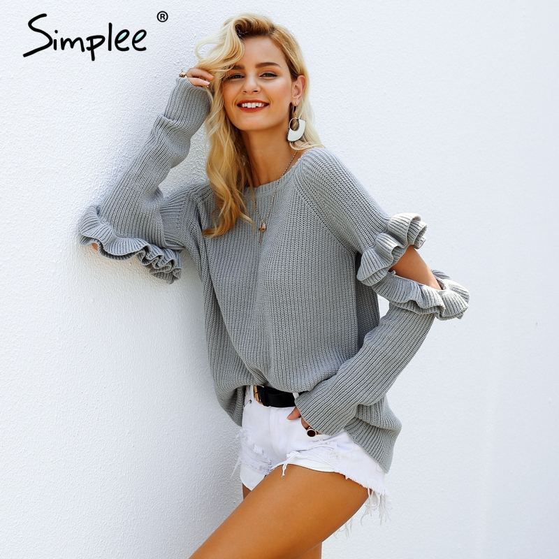 Simplee Elegant Ruffles Sweater S18ST0308