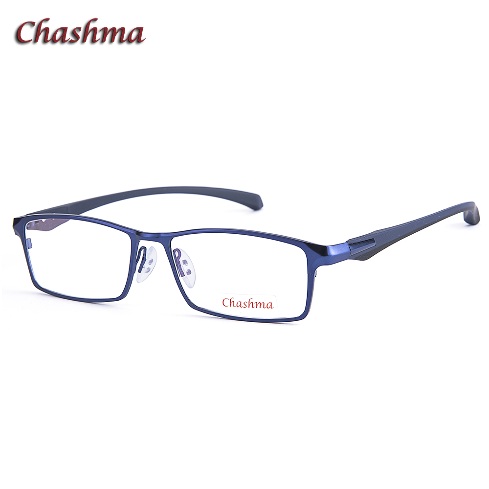 Chashma Wide Frame Titanium Alloy Eyeglass Male Myopia Glasses Spectacle Full Rimmed Fashion Designer Blue Color Mens