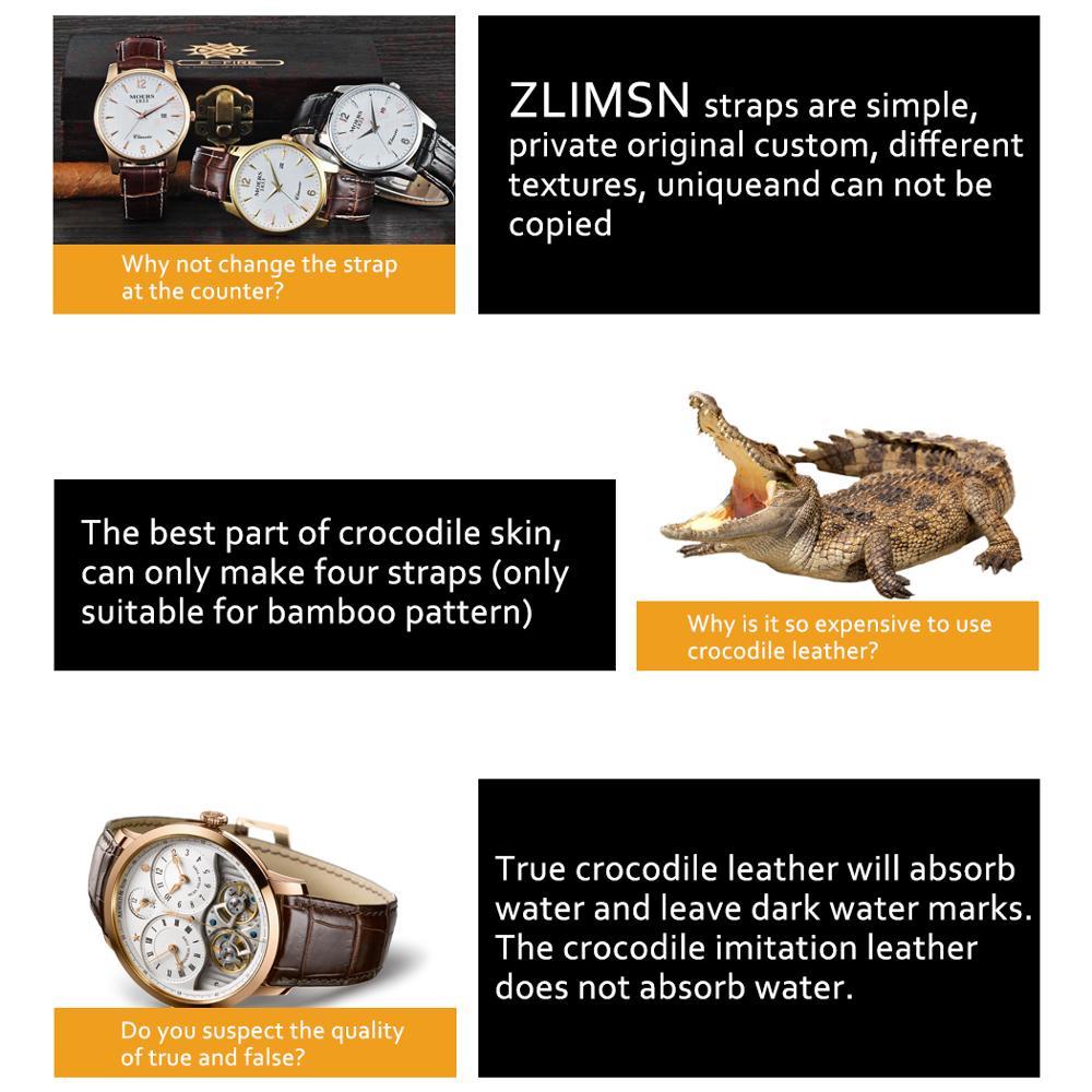 ZLIMSN bracelet en cuir de Crocodile de luxe de haute qualité rouge confortable imperméable à l'eau Fine artisanat couture 12mm-26mm pour hommes femmes - 5