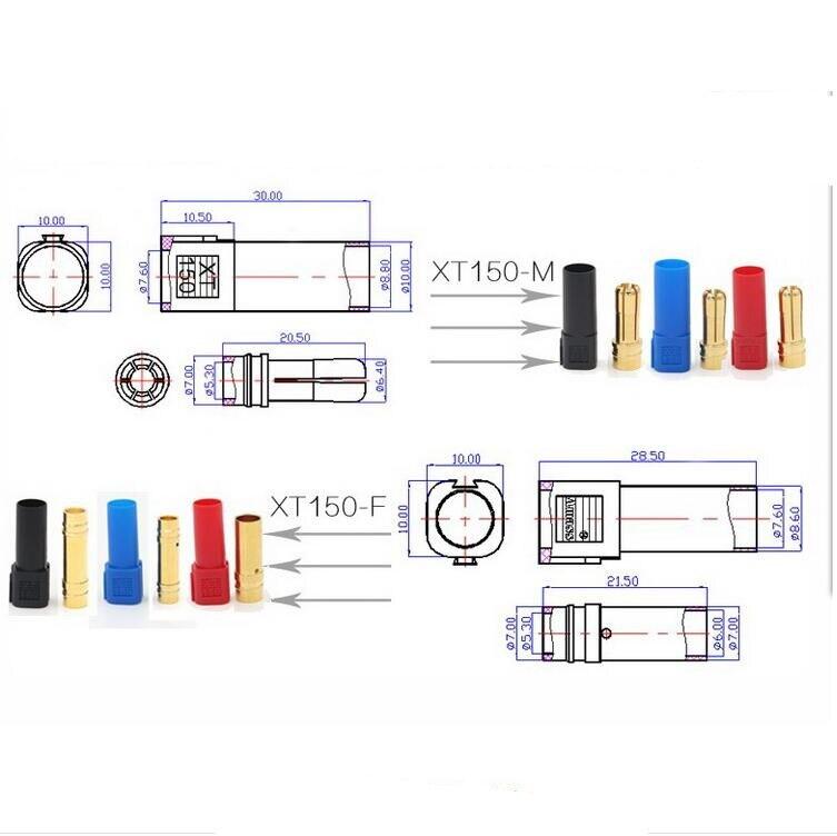 1 пара XT150 AMASS коннектор адаптер 6 мм штекер/гнездо высокая оценка Amps для RC LiPo батареи скидка 20%