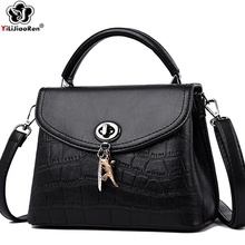 Fashion Stone Pattern Women Leather Handbags Ladies Tassel Shoulder Bags Luxury Designer Crossbody Black Bag