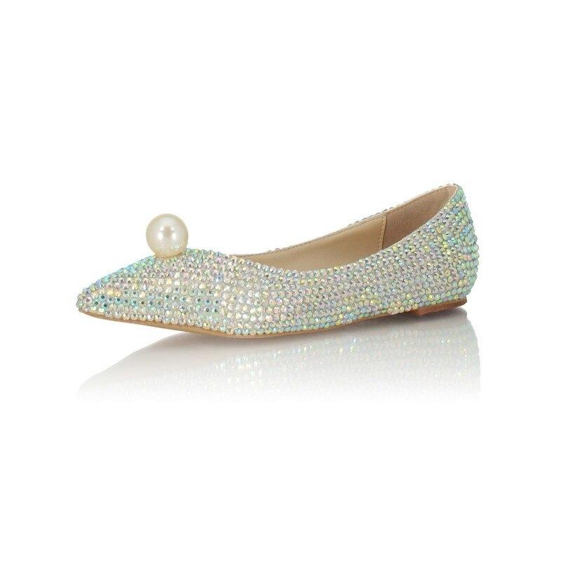 Mode Vrouwen Ondiepe Slip Op Loafers Bruid Glitter Pailletten Parel Wees Teen Trouwjurk Schoenen Bruidsmeisje Dames Flats Schoenen - 3