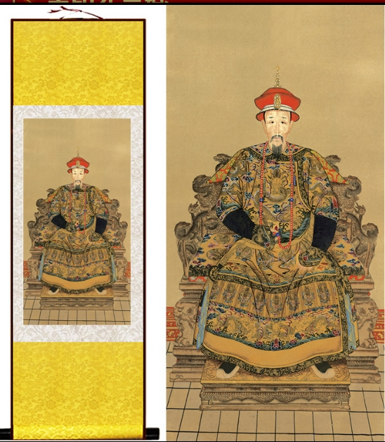 140*45cm 3color Chinese gold Silk scroll painting  Qing Dynasty emperor kangxi redhat art wall picture 140*45cm 3color Chinese gold Silk scroll painting  Qing Dynasty emperor kangxi redhat art wall picture