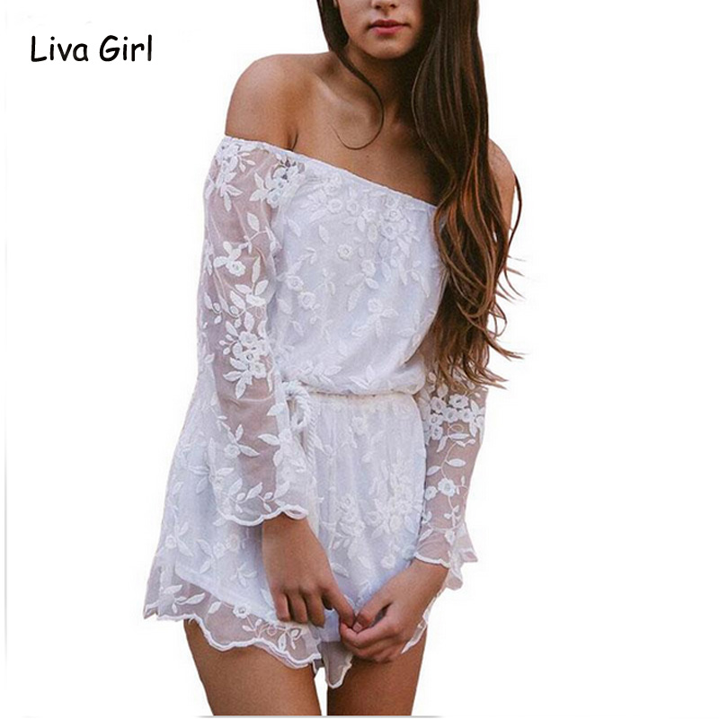 c0610d80c42 2016 Sexy Off Shoulder White Lace Women Jumpsuit Romper Embroidery Playsuit  Belted With Tassel Casual Elegant Overall