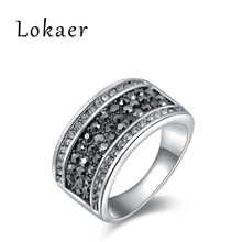 Lokaer Simple Silver Color Rings Black And White Genuine Austrian Crystal Trendy Pave Setting Rings Jewelry R150160283P(China)