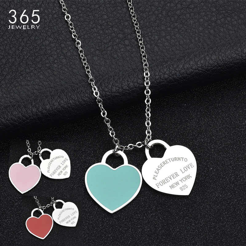 "Fashion Accessories Enamel Double Heart Pendant Stainless Steel Necklace ""FOREVER LOVE"" Letter Necklace Wedding Gift"