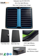 Solarparts 1x 5V/10W blue color  ETFE lamianted all-in-one high efficiency portable solar charger 12V solar panel cell flexible