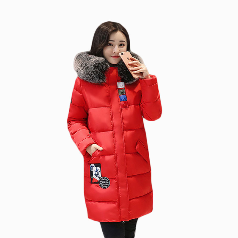 2017 NEW WOMEN WINTER JACKER MID-LENGTH LARGE FUR COLLAR HOODED THICK WARM FEMALE PARKA COTTON WADDED COAT HIGH QUALITY ZL636