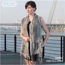 Knitted Fur Vest 2016 New  Hot Sale Fashion Long Cashmere Knitted Real Fur Tassel Pocket Rabbit Vest  colete feminino franjas