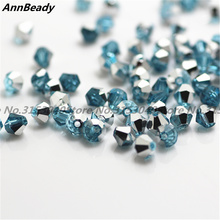 100pcs Lake Blue Silver Color 4mm Bicone Crystal Beads Glass Beads Loose Spacer Beads DIY Jewelry Making Austria Crystal Beads