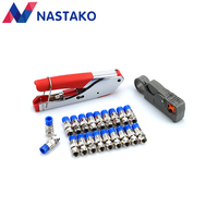 NASTAKO F Type Coaxial Compression Connector F Terminals Wire Stripper Tool RG6 RG59 For Coax Cable