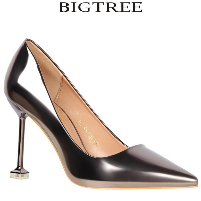 Bigtree Shoes Brand Women's Sexy Gradient Color Nightclub High Heels Pointed Toe Thin Heel Women Gold Shoes Glossi Pumps doratasia embroidery big size 33 43 pointed toe women shoes woman sexy thin high heels brand pumps party nightclub