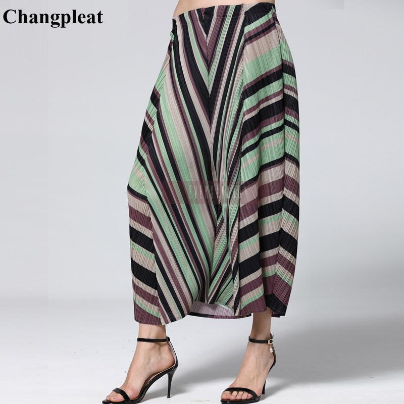 Changpleat 2019 Spring new Geometric print Women   wide     legged     pants   Miyak pleated Fashion Elastic waist Loose Plus Size   Pant   Tide