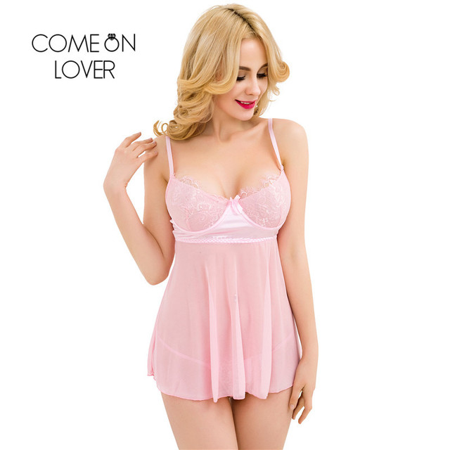 RI80275 Comeonlovr Mini Babydoll With G-string Perspective Sex Charm Sex Sleepwear Plus Size Dynamic Pink Cute Dress Lingerie