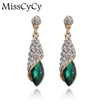Fashion Brand Alloy Gold Colors Statement Austria Blue Crystal Long Earrings Rhinestone Water Drop Elegant Earring Jewelry