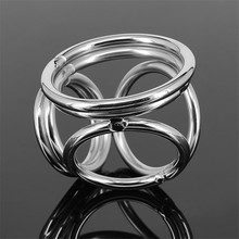 Male Stainless Steel Dick Ring Penis Delay Ejaculation 4 Holes Cockrings Lock Dildo And Scrotum Adult Cocks Sex Toys For Men