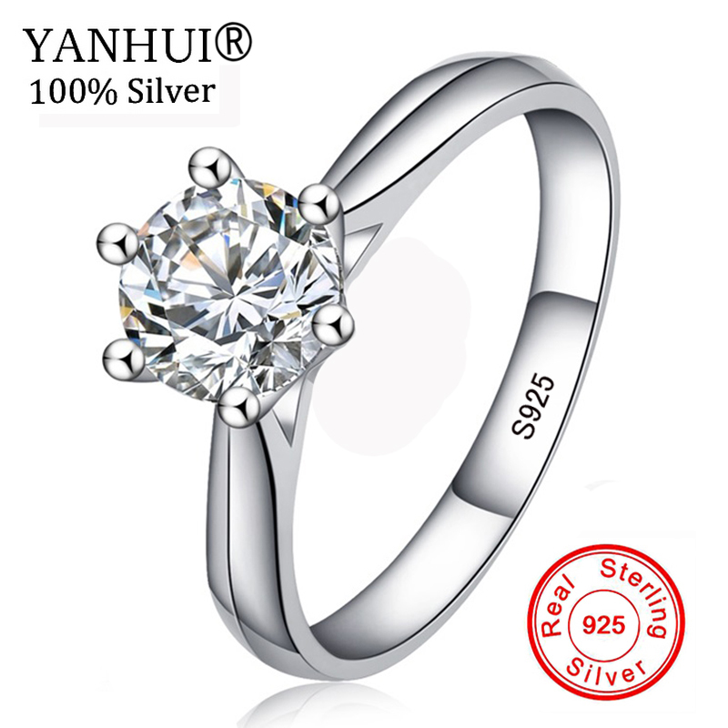Big Promotion! 100% Original 925 Silver Wedding Rings For Women Natural Solitaire 6mm CZ Diamant Engagement Rings Jewelry RJ003 big promotion 100