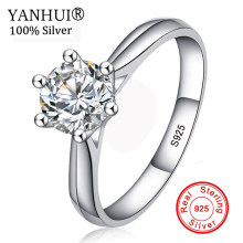 Big Promotion! 100% Original 925 Silver Wedding Rings For Women Natural Solitaire 6mm CZ Diamant Engagement Rings Jewelry RJ003(China)