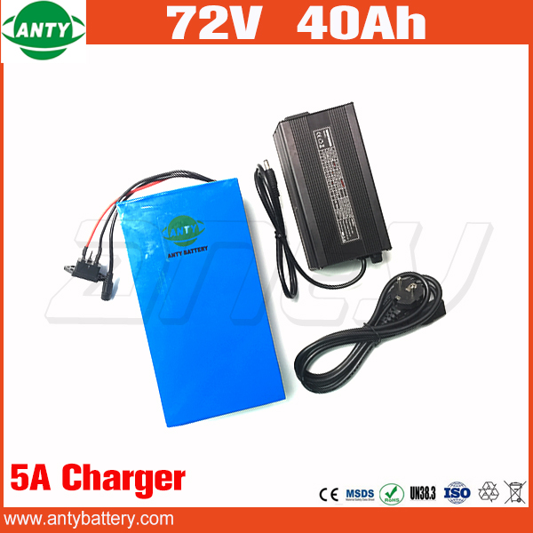 Electric Bicycle Battery 72v 40Ah Lithium Scooter Battery 72v 2800w with 50A BMS 84v 5A Charger eBike Battery 72v Free Shipping free customs taxes ebike battery 48v 40ah 2000w electric bicycle lithium battery pack with charger and 50a bms