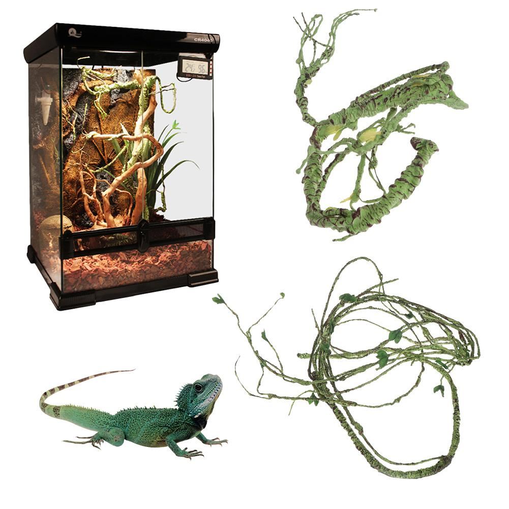 Collapsible Reptile Vines Habitat Decoration Artificial Simulated Rattan Lizard Green Plants Jungle Climber Reptile Supplies