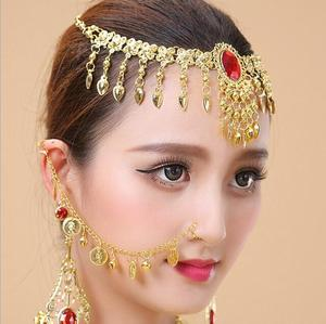 1 Set Indian Belly Dance Nose Chains And Studs Earring And Front Necklace Women Gold Earrings Hoop Show Accessories