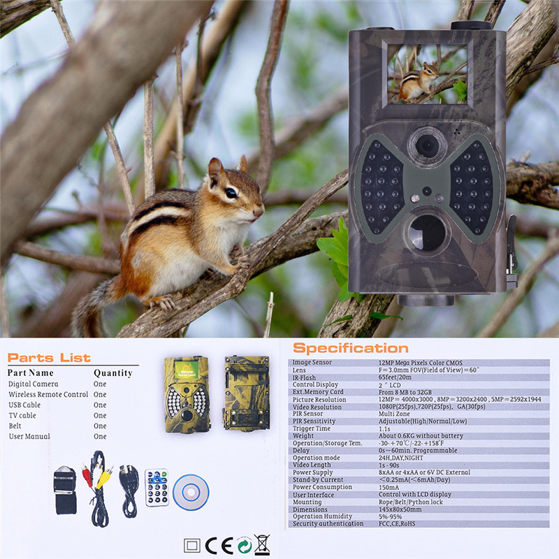 Outdoor HC-300A Scouting Hunting Trail Camera 12MP HD Cam 940NM Infrared Wildlife IP54 Night Vision IR Trail camera 940nm scouting hunting camera 16mp 1080p new hd digital infrared trail camera 2 inch lcd ir hunter cam