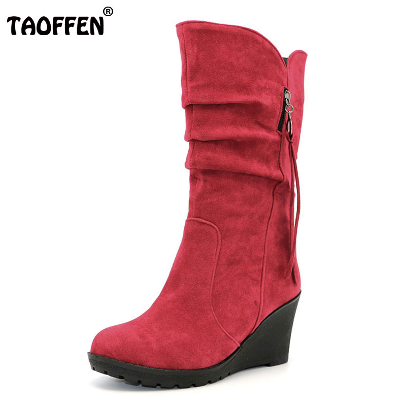 TAOFFEN Size 28-50 Women Wedge Half Short Ankle Boots Rainbow Color Winter Snow Boot Fashion Footwear Warm Botas Feminina Shoes 2017 cow suede genuine leather female boots all season winter short plush to keep warm ankle boot solid snow boot bota feminina