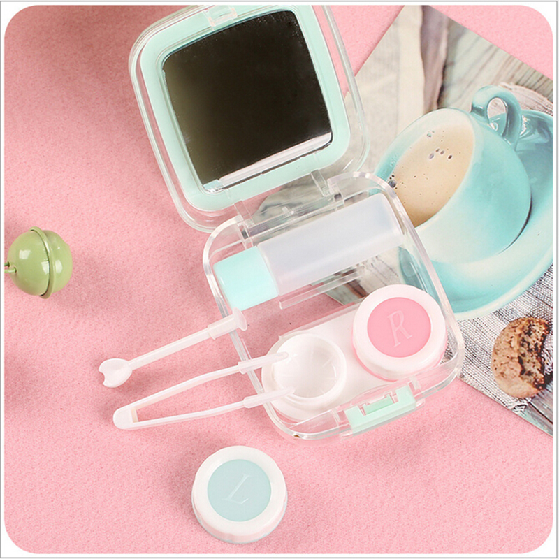 Fruit Pattern Mini Eyewear Cases Portable Storage Box Contact Lens Travel Kit Organizer Eyes Care Container Holder With Mirror