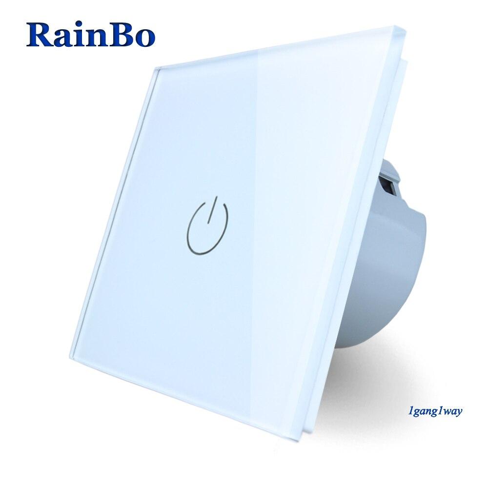 RainBo Neue Kristall Glas Panel Schalter Wand Schalter EU Touch Schalter Bildschirm Wand Licht Schalter 1gang1way 110 ~ 250 v LED lampe A1911W/B