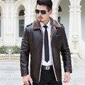 Мода овчины меховой collor зима шерсти мужская кожаная куртка плюс толстый бархат пальто куртки высокого качества пуховики размер 3xl
