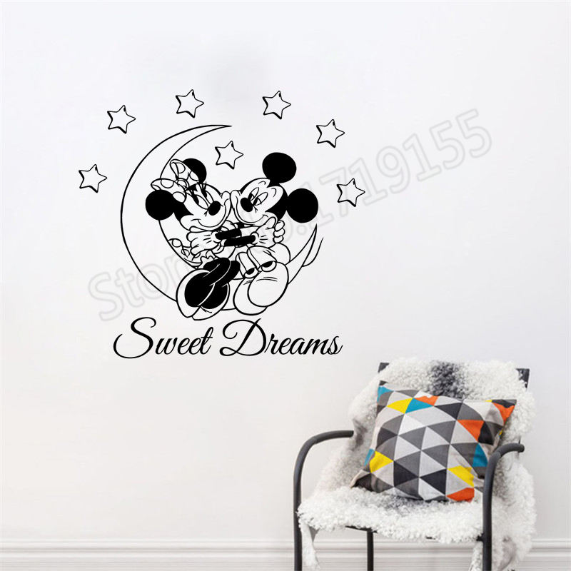 . US  6 03 29  OFF Minnie Mickey Mouse Wall Sticker Moon Stars Sweet Dreams  Wall Decals For Kids Bedroom Vinyl Baby Houseware Playroom Decor SYY289 in